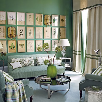 Living Room Vintage Framed Botanicals Wall Art Grouping Green Ticking Velvet